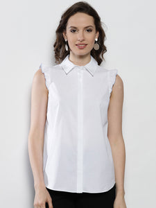 Women White Regular Fit Solid Casual Shirt