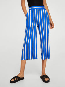 Women Blue & White Regular Fit Striped Culottes