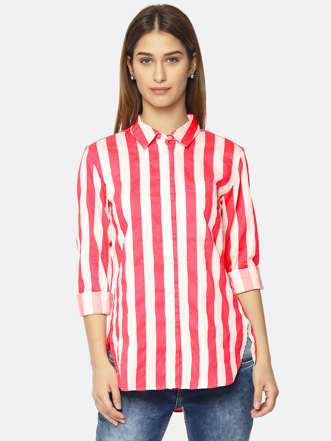 Women Coral Red & White Regular Fit Striped Casual Shirt
