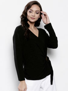 Women Black Solid Wrap Top