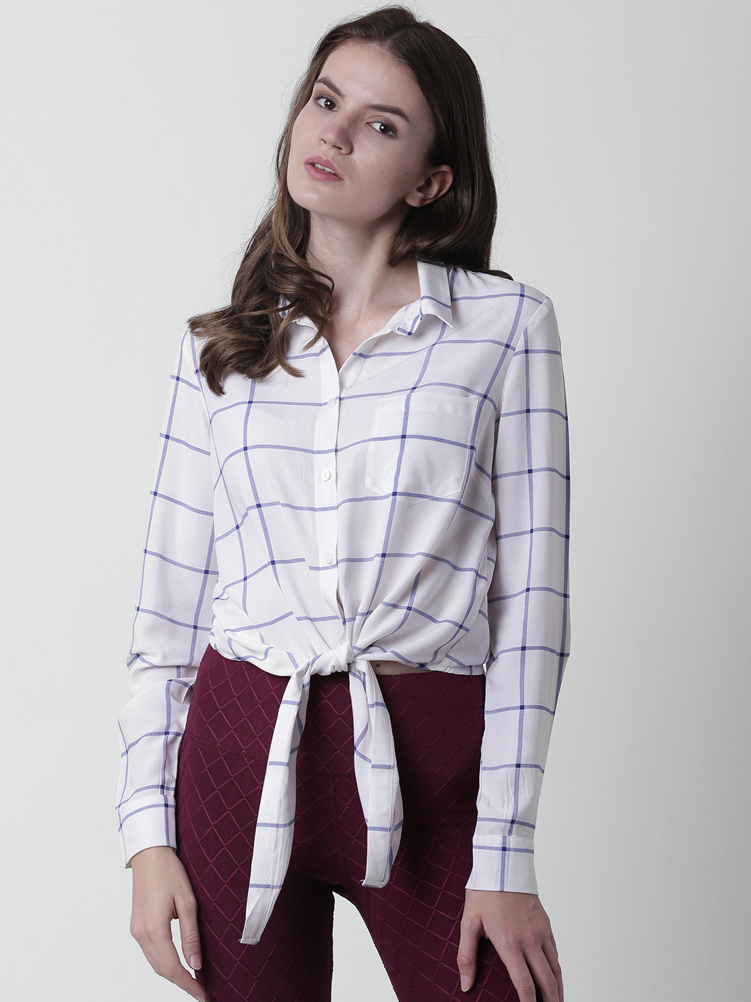 Women White & Blue Regular Fit Checked Casual Shirt
