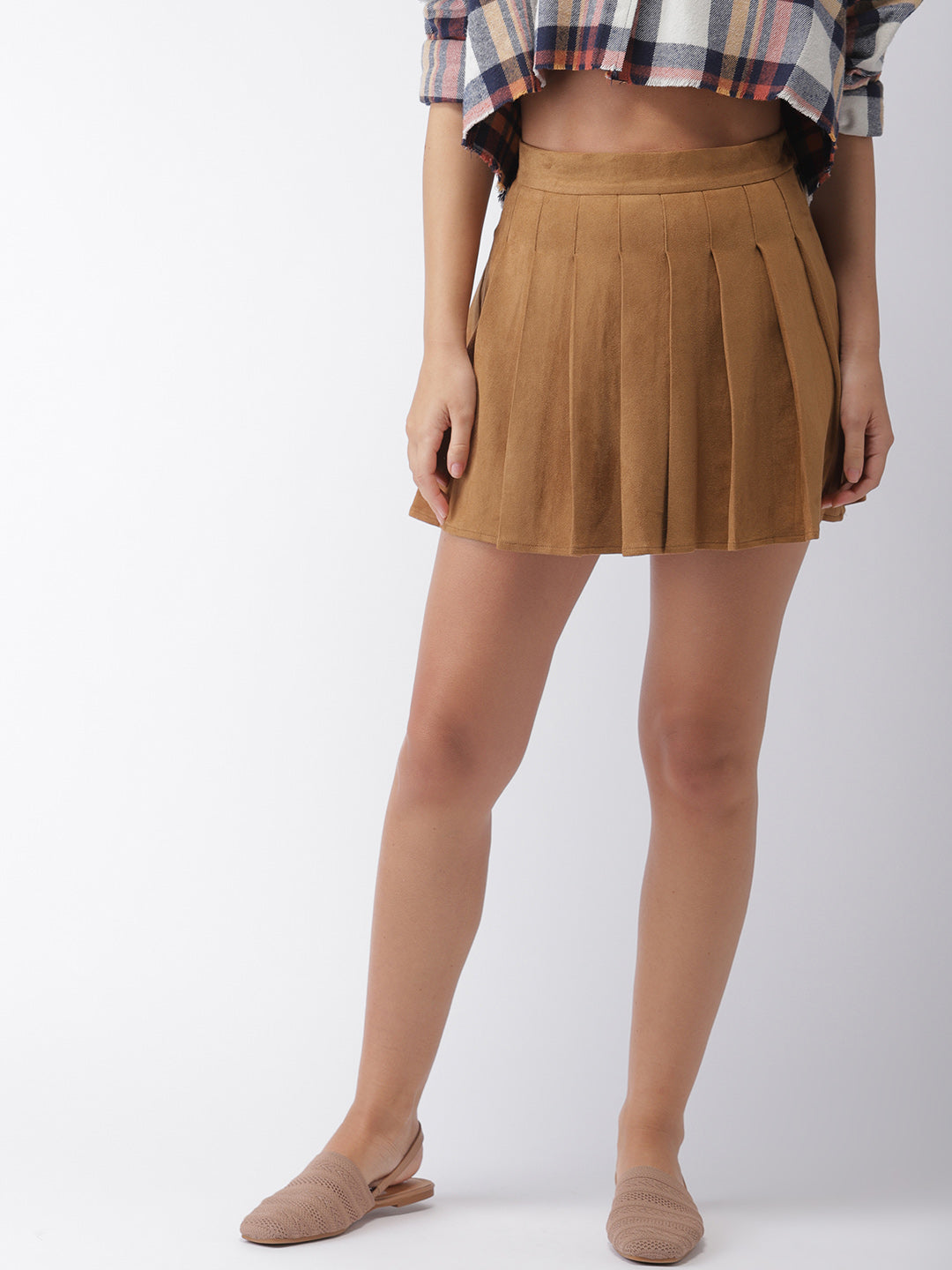 Brown Solid Flared Skirt
