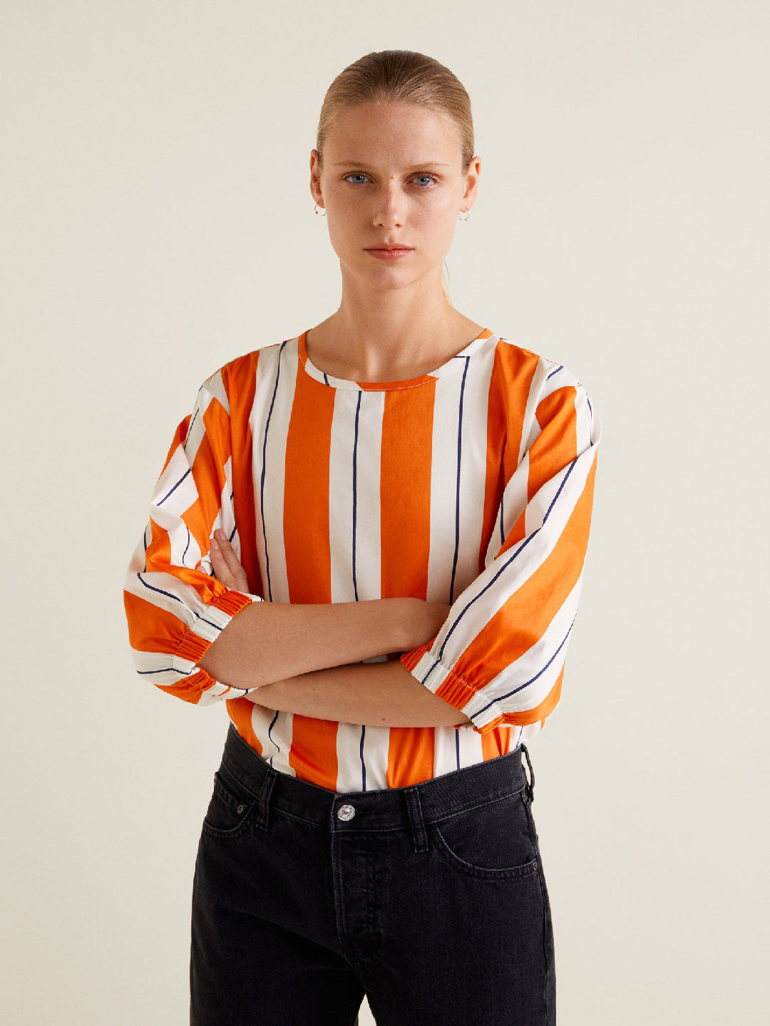 Women Orange & White Striped Top