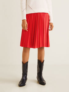 Women Red Solid Accordion Pleats A-Line Skirt