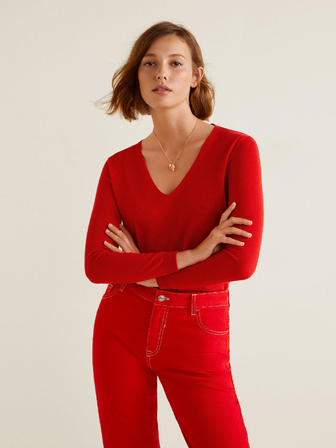 Women Red Solid Pullover