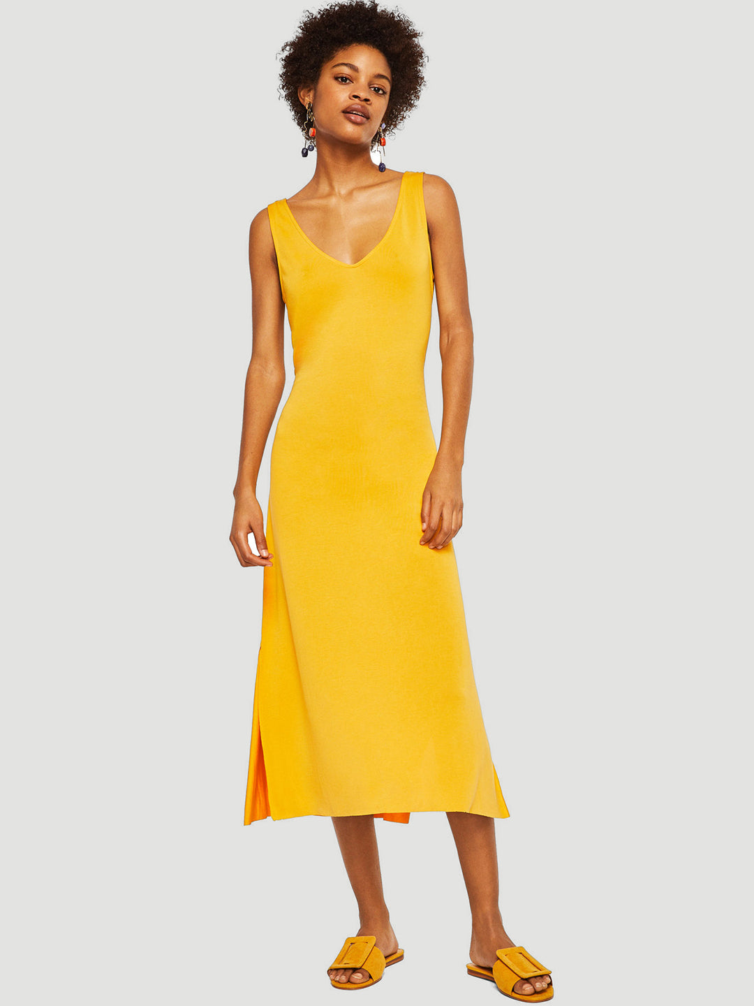 Women Yellow Solid Midi A-Line Dress