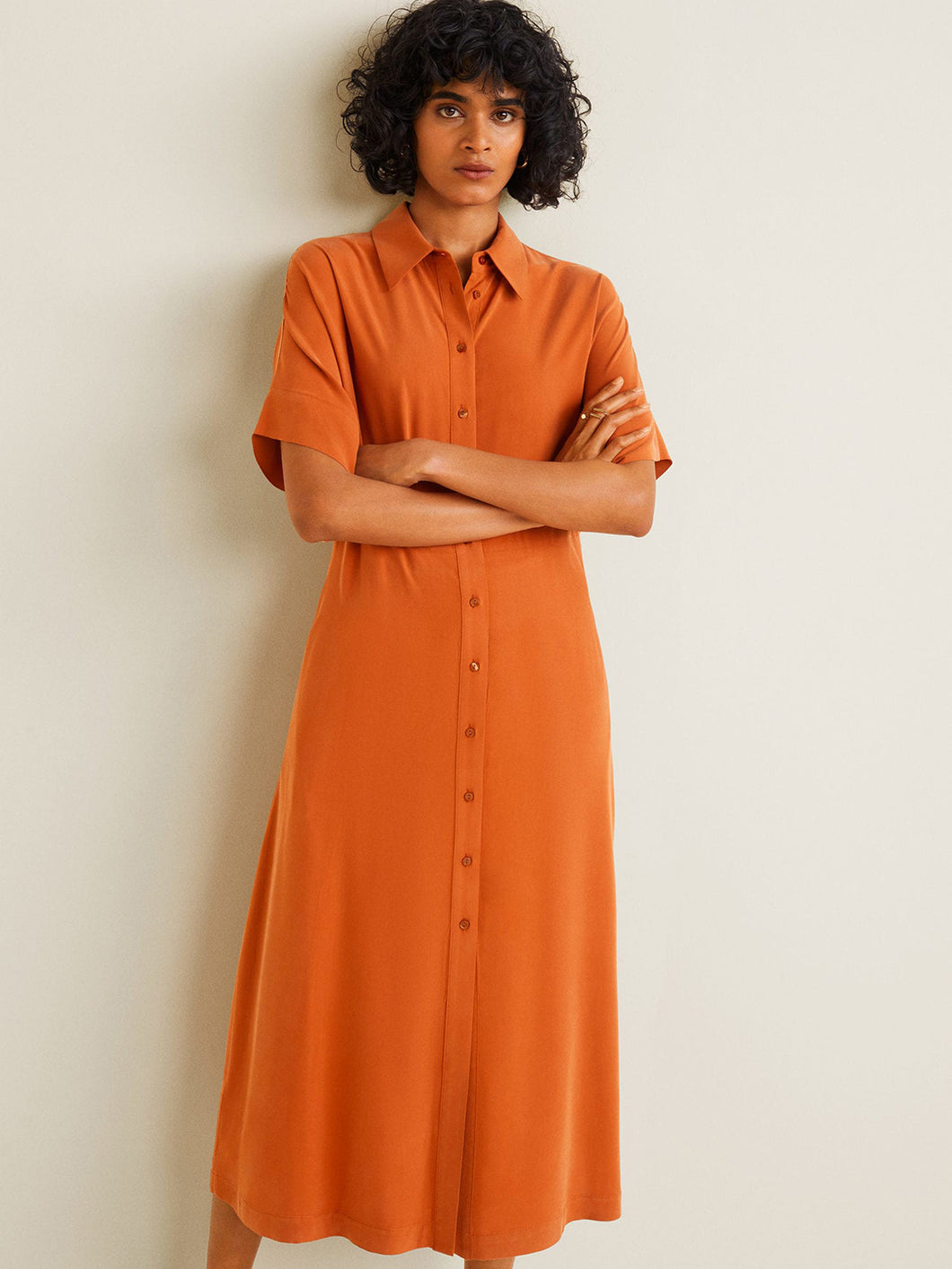 Orange Solid Shirt Dress