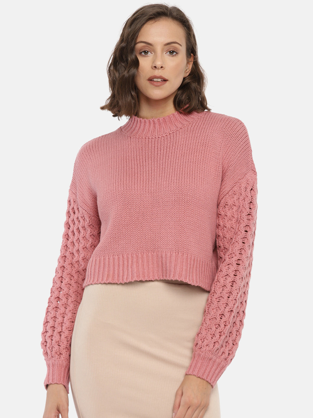 Pink Solid Pullover
