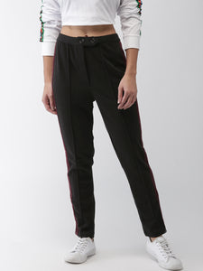 Women Black Regular Fit Solid Regular Trousers