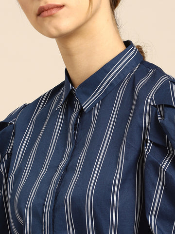 Women Navy & White Regular Fit Striped Casual Shirt