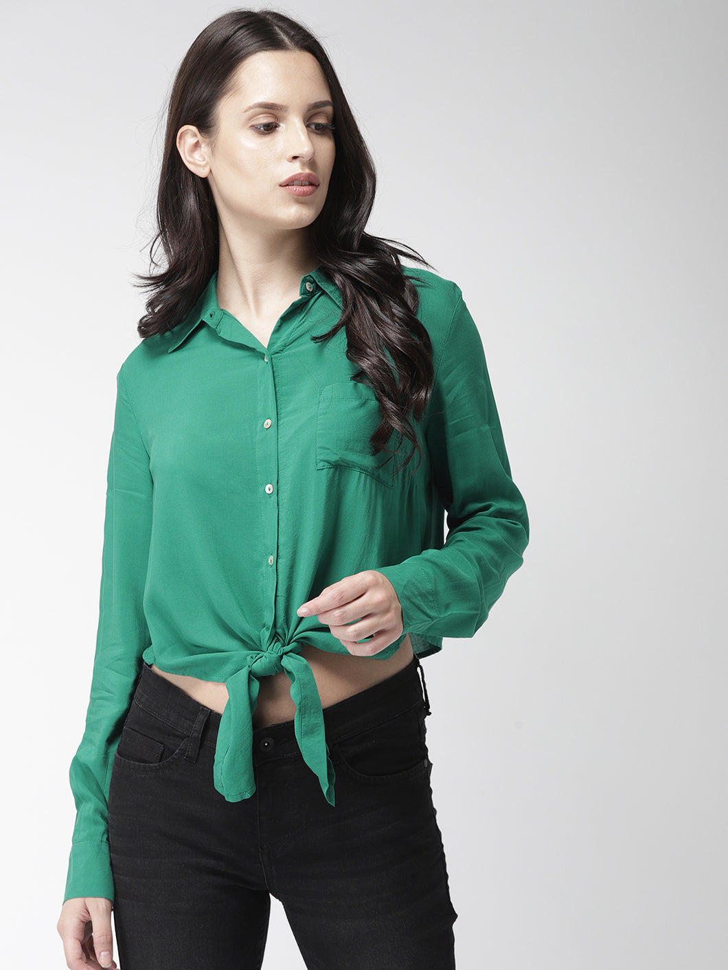 Women Green Regular Fit Solid Casual Shirt