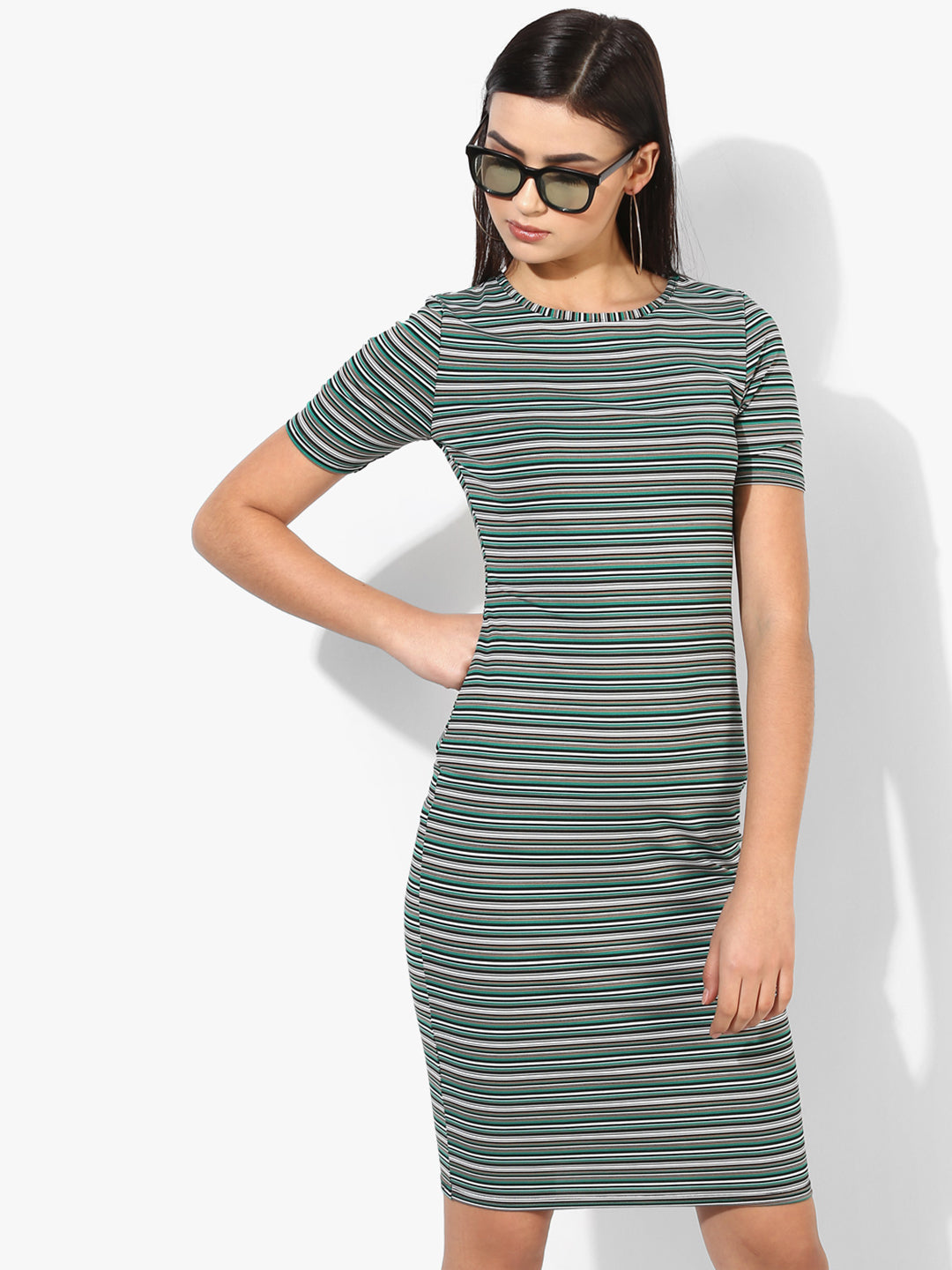Women Green & White Striped Bodycon Dress