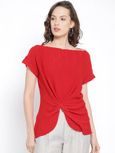 Women Red Self-Design Top