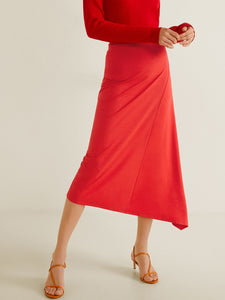 Women Red Midi A-line Skirt