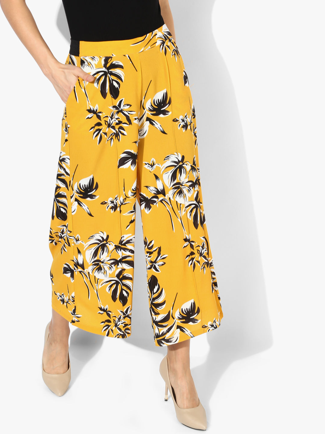 Yellow Printed Slim Fit Culottes