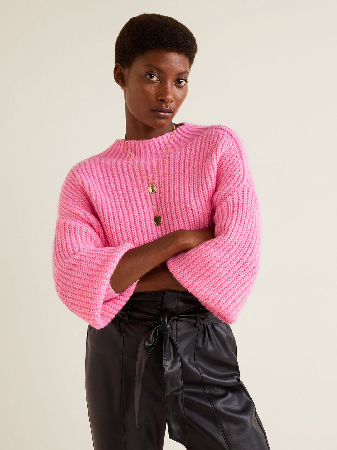 Women Pink Solid Pullover