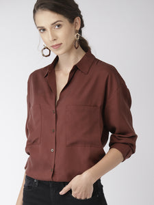 Brown Regular Fit Solid Longline Casual Shirt