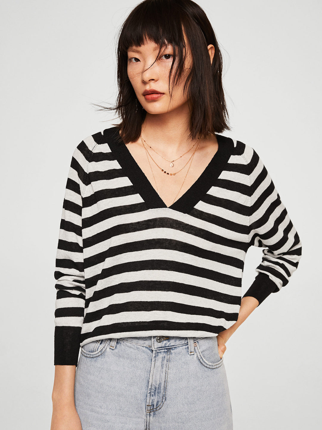 Women White & Black Striped Sweater