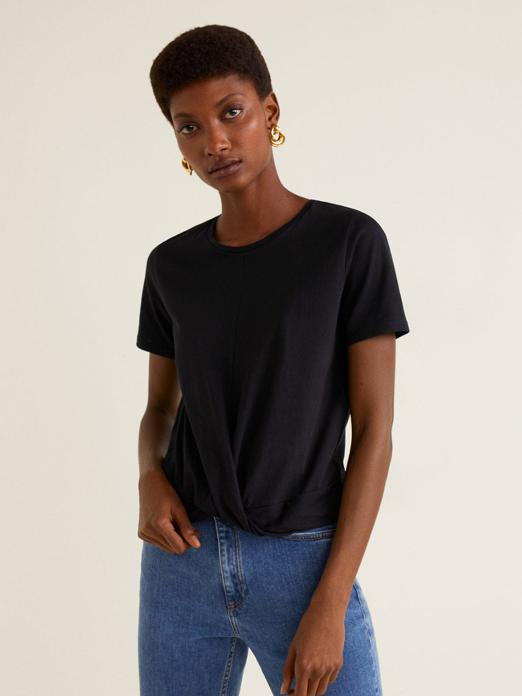 Women Black Solid Short Sleeve Top
