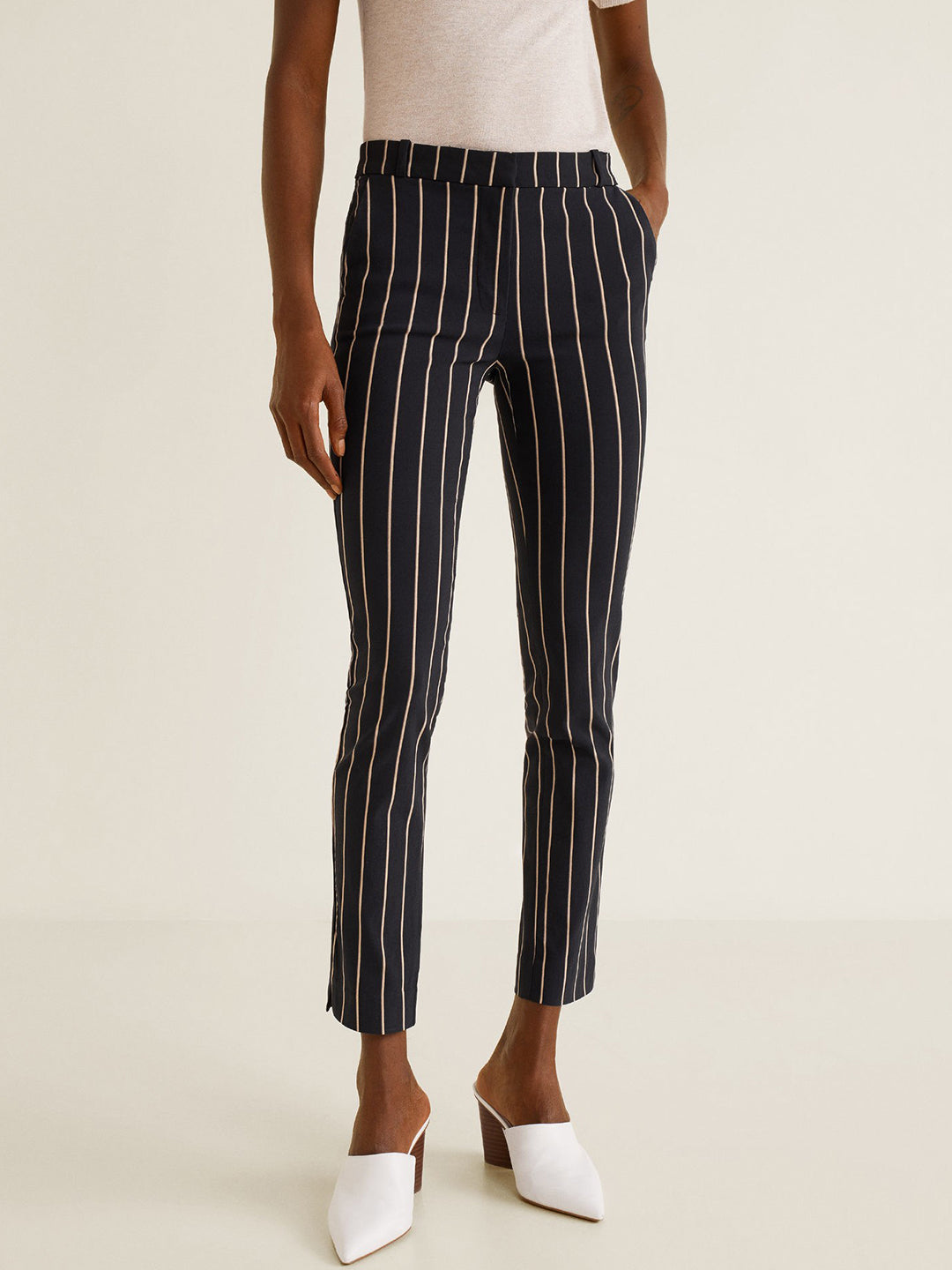 Women Black & Beige Regular Fit Striped Cropped Trousers