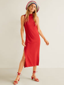 Women Red Solid Sheath Dress