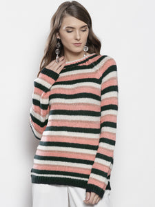 Women Pink and Green Striped Pullover