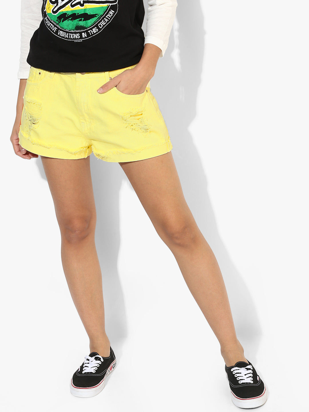 Women Yellow Solid Regular Fit Regular Shorts