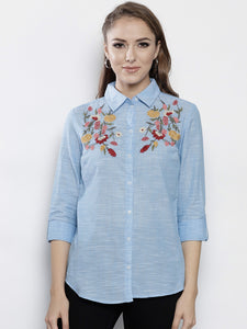 Women Blue Solid Regular Fit Casual Shirt