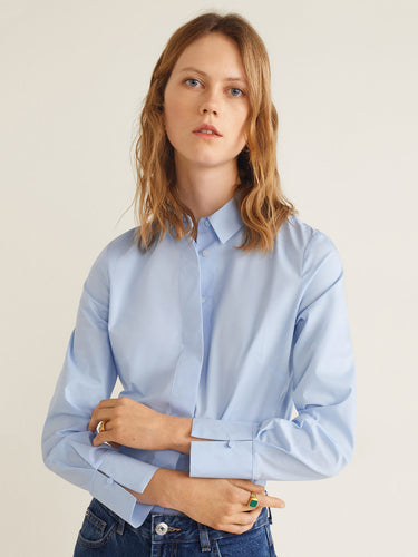 Women Blue Regular Fit Solid Casual Shirt