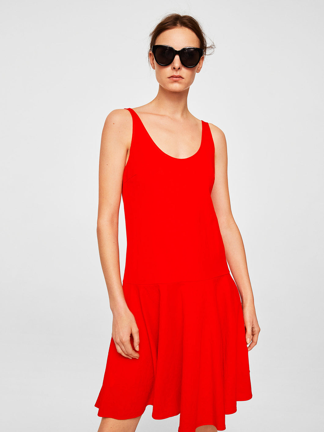 Women Red Dress - Round Neck