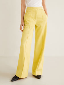 Women Yellow Regular Fit Solid Corduroy Bootcut Trousers