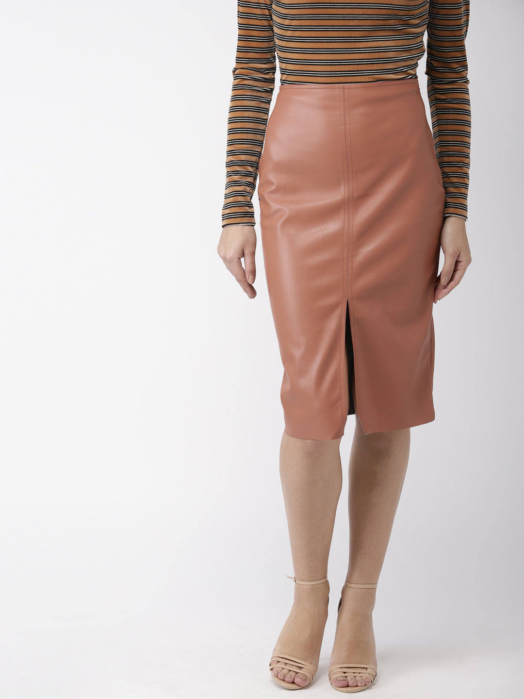 Women Brown Solid Pencil Skirt