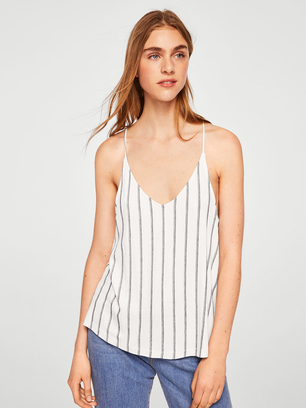 Women White & Blue Striped Top