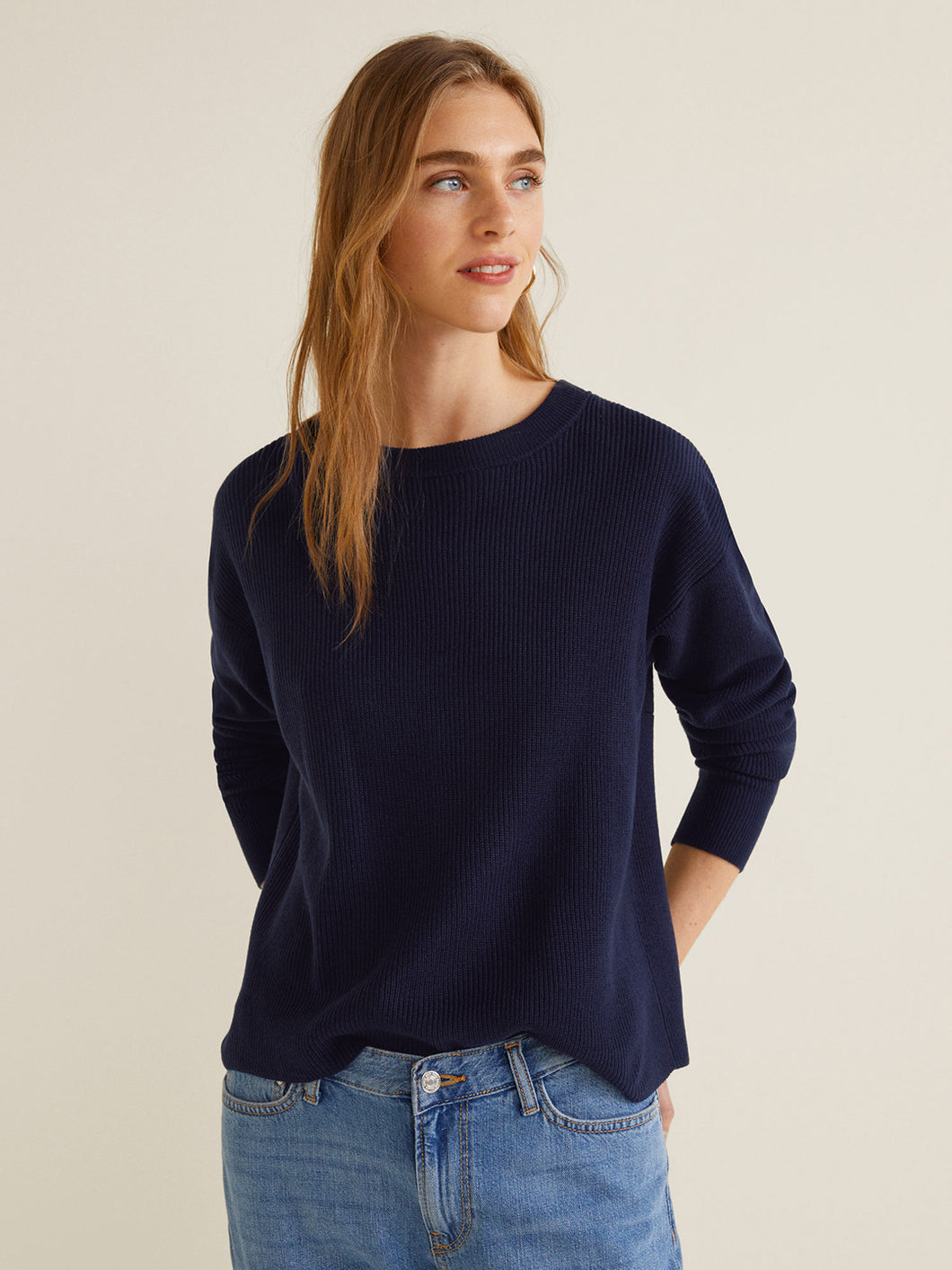 Women Navy Blue Solid Pullover