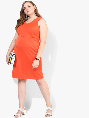 Curve Orange Coloured Solid Shift Dress