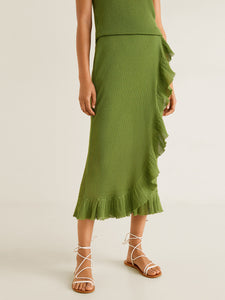 Women Green Solid Midi Wrap Skirt