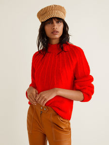 Women Red Cable Knit Pullover
