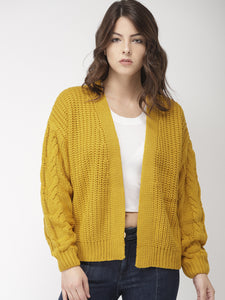 Yellow-Coloured Self-Design Front-Open Sweater