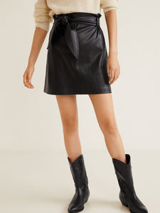 Women Black Solid Mini A-Line Skirt