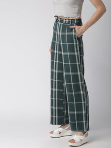 Women Green & Beige Flared Checked Parallel Trousers