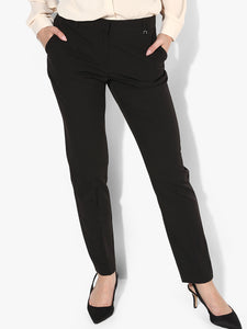 Women Black Slim Fit Solid Regular Trousers