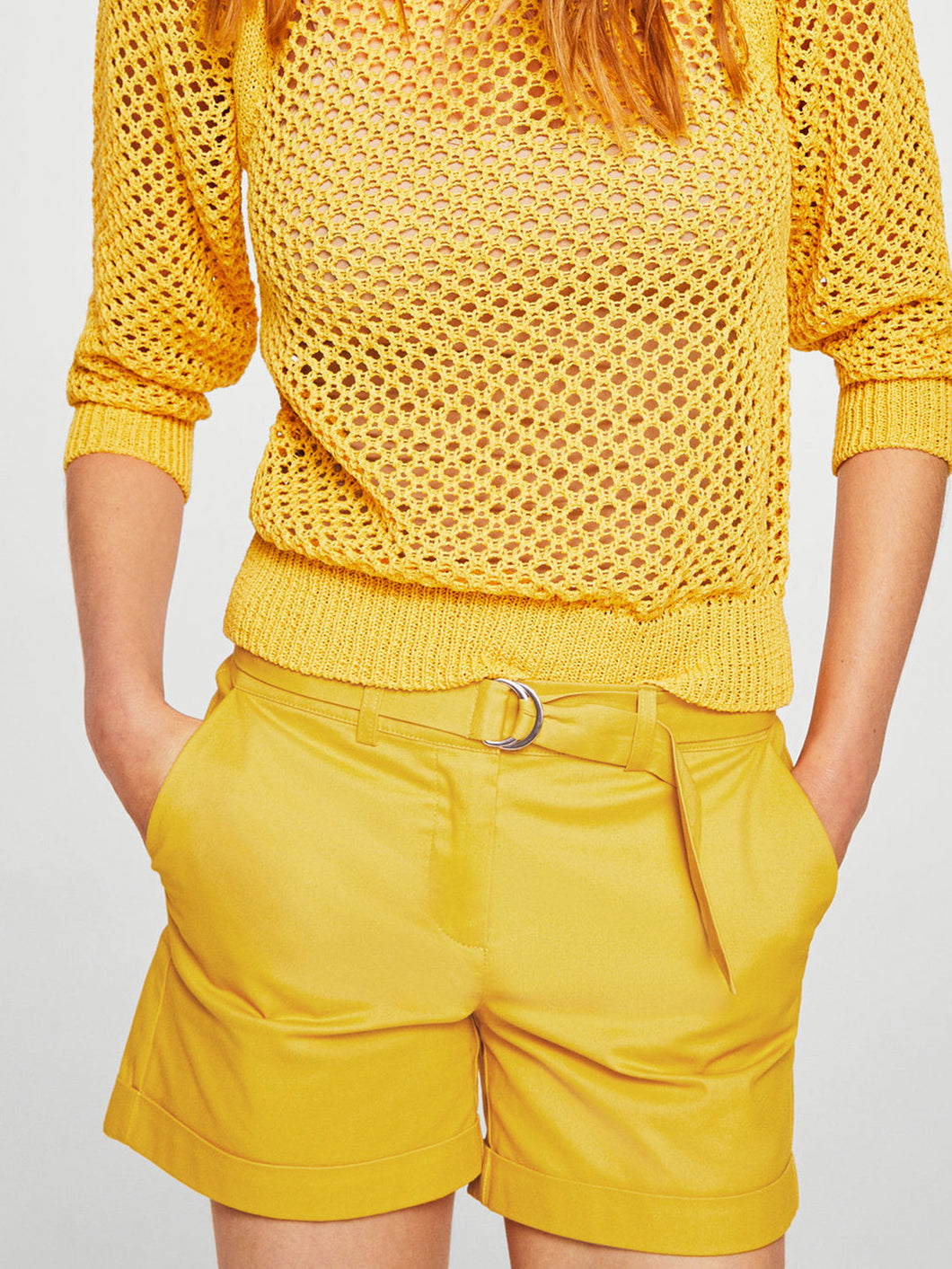 Women Yellow Solid Regular Fit Chino Shorts