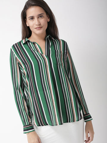 Women Green & Black Striped Semi-Sheer Shirt Style Top