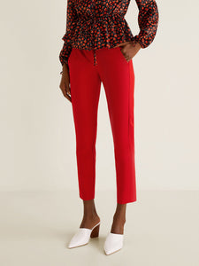 Women Red Solid Cropped Trousers