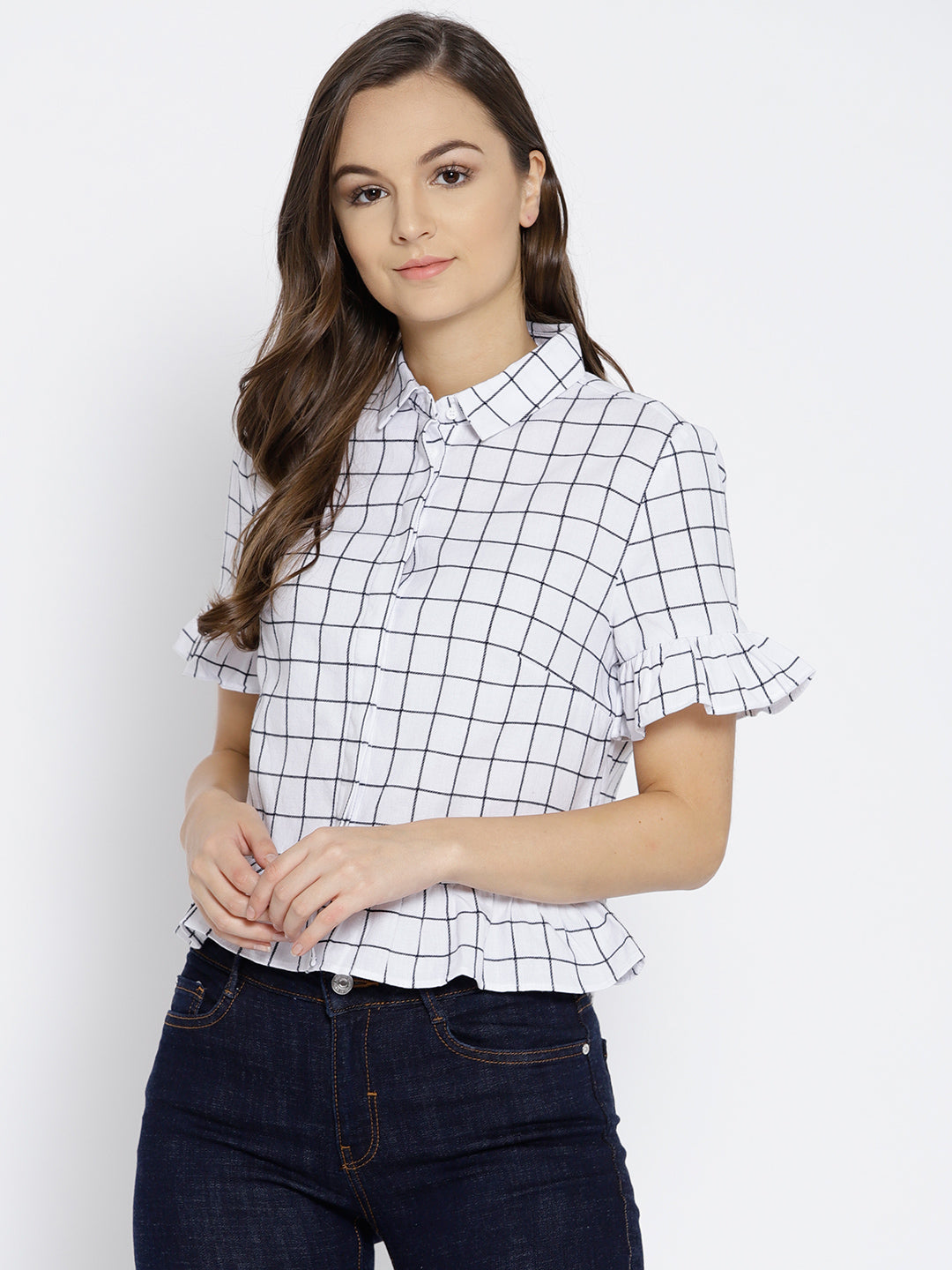 Women White & Black Regular Fit Checked Casual Shirt