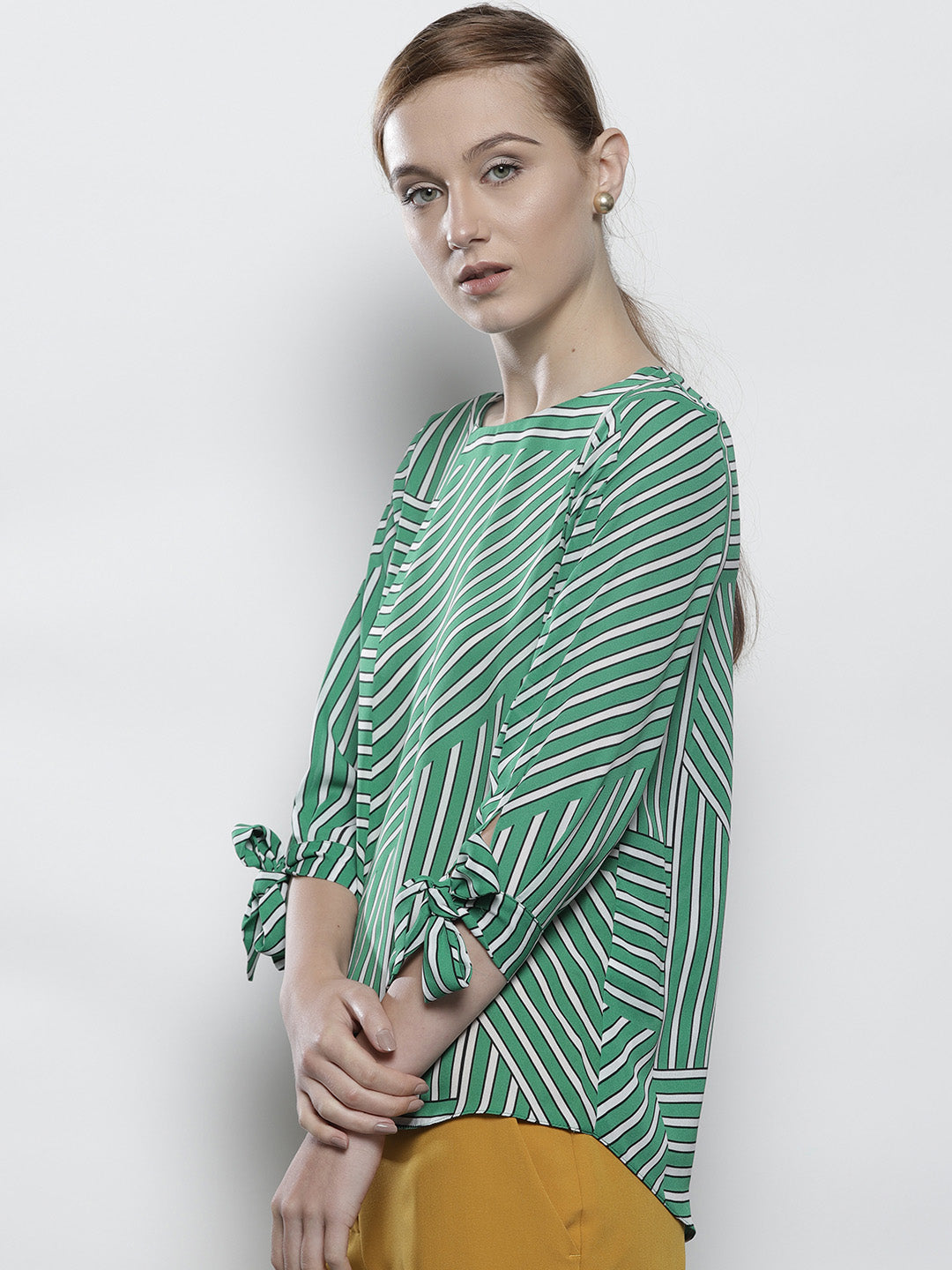 Women Green Striped Top