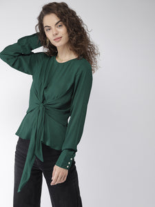 Women Green Solid A-Line Top