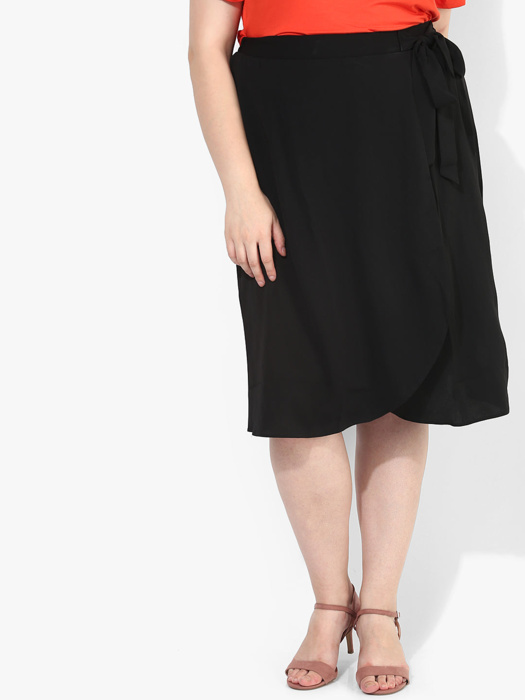 Curve Black Solid Pencil Skirt