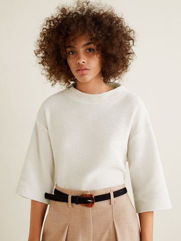 Women Off-White Solid Pullover