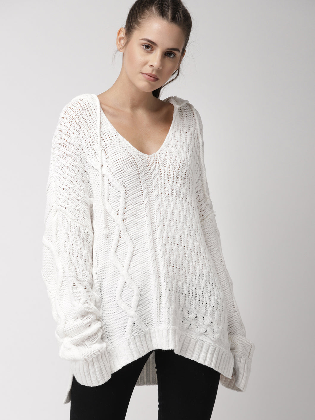 Women White Self Design Pullover - V Neck